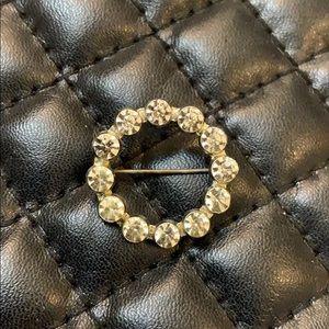 Antique Art Deco Crystal Rhinestone Circle Brooch